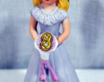 1981 ENESCO Porcelain Growing Up Birthday Girl Age 9 Brunette - E2308
