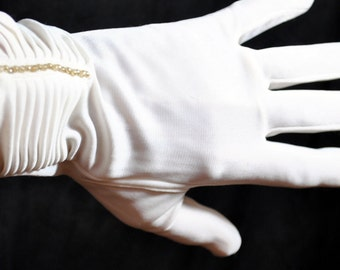 Vintage White Nylon Gloves with Faux Pearls and Shirring