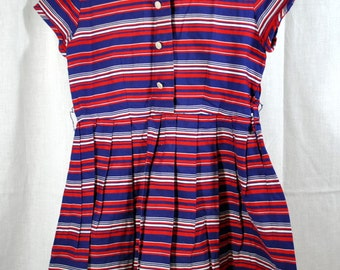 Vintage 1940s Red White and Blue Striped Girls Dress