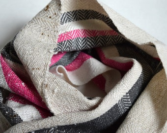 Handwoven Scarf in Natural, Grey and Fuschia