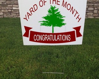 Yard of the Month Yard Sign, 24 x 18 Corrugated yard signs, Garden Gifts, Congratulations sign, Lawn Care, Community event, Town Signs