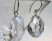 SALE * Quartz Crystal Smooth Faceted Nugget Single Drop Earrings