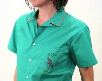 70s NOS Ralph Lauren Shirt, RL Western Wear Shirt, Green Snap Shirt S, Deadstock Ralph Lauren Western Blouse, Rodeo Logo, Small