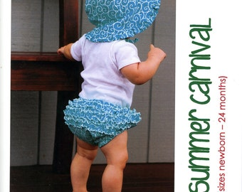 Make It Perfect Summer Carnival Pattern Ruffled Diaper Cover Bloomers Nappy Sun Hat Newborn Baby to 24 Months Uncut Sewing Pattern
