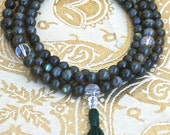 Labradorite Mala Necklace w Sterling Silver Flowers - Yoga & Meditation Prayer Beads