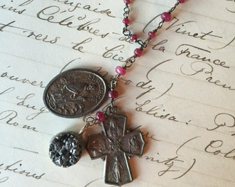 Vintage Rosary Inspried Reclaimed Upcycled Necklace on Sterling with low grade ruby stones, Gifts under 60, Gifts for Her, Ready to Ship