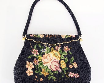 60s Black Beaded Bag with Petit Point Flowers