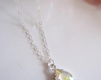 Silver Pendant Necklace, Clear Teardrop necklace, Modern, Bridesmaid Necklace, Minimalist Wedding Jewelry, Brides Necklace, Gardendiva