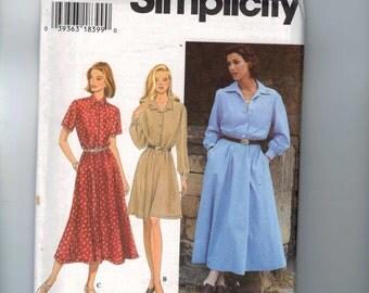 Misses Sewing Pattern Simplicity 9866 Misses and Petite Button Front Shirtwaist Dress Size 6 8 10 Bust 30 1/2 31 1/2 32 1/2 UNCUT 1990s  99