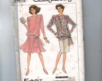 1980s Vintage Misses Sewing Pattern Simplicity 9047 Misses Two Piece Blouson Dress Easy Petite Size 6 8 10 12 Bust 29 30 31 32 34 UNCUT