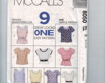 Misses Sewing Pattern McCalls 8050 Misses Easy Pullover Top Shirt Blouse Size 8 10 12 Bust 30 32 34 UNCUT