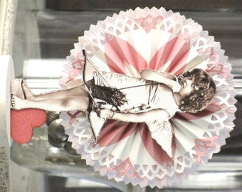 Vintage Inspired Valentine's Day Victorian CUPID Standing on a Spool Rosette Valentine Pink