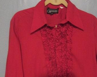1970's Ruffled Tux Red Maroon Shirt