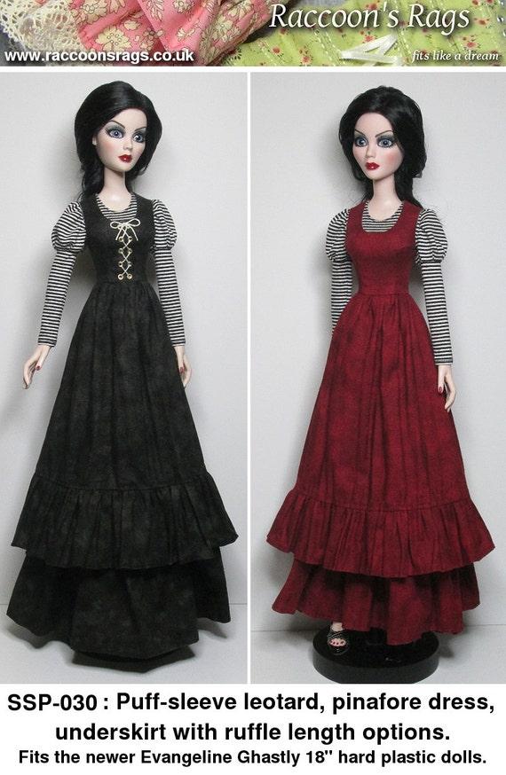 STRAIGHTFORWARD SEWING Pattern SSP-030: Puff-sleeve leotard, overdress and underskirt for Evangeline Ghastly & friends.