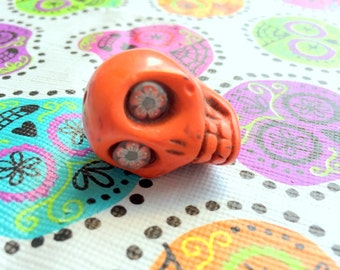 Gigantic Orange Howlite Skull Bead or Pendant  with Fun Flower Eyes