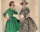 Vintage 50's One-Piece Shirtwaist Dress Sewing Pattern Size 14 Bust 34 French Cuff 3/4 Sleeves Short Sleeves Fitted Bodice Belted Full Skirt