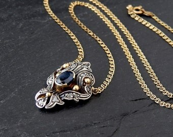 Georgian Sapphire and Diamond Necklace: 10k yellow gold, Sterling Silver, rose cut diamonds, blue sapphire, antique jewelry, 17.5 inches