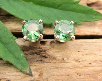 Medium Green Tourmaline Earrings in Gold with Genuine Gems, 4mm