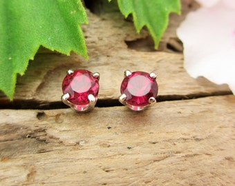 Pink Tourmaline Earrings in 14k White Gold with Genuine Gems, 4mm