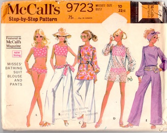 "Vintage Sewing Pattern 1960's McCall's 9723 Bathing Suit, Pants & Blouse 32"" Bust - Free Pattern Grading E-book Included"