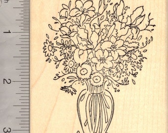 Flower Bouquet in Vase Rubber Stamp M17009 Wood Mounted