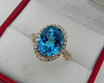 AAAA Double Blue Topaz 14 x 12mm Oval 4.09 Carat 14K Rose gold and diamond Halo ring 0754 y