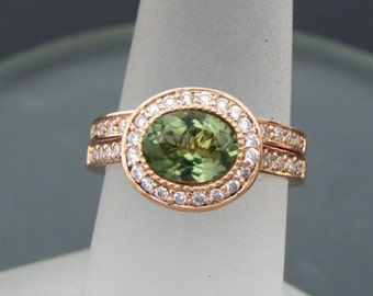 AAAA Green Sapphire   8x6mm  0.97 Carats   Oval 14K Rose gold Halo bridal set with .35cts of diamonds. 794