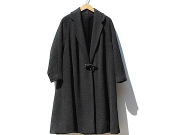 Vintage Black Wool Swing Coat