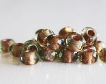 25 6x9mm Light Peridot/Copper Lined Faceted Czech Glass Roller Beads