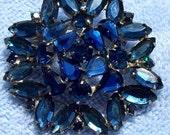 Vintage Rhinestone Brooch, Blue Rhinestone Brooch, Vintage Marquis Stones, Vintage Pin, Marquis Cut Rhinestone Pin