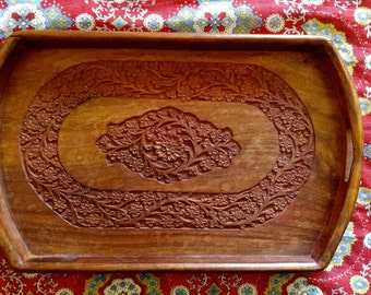 Dark Stained Floral Carved Wood Indian Boho Tray