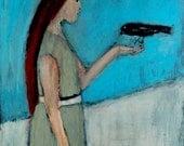 Digital Print - Girl & Bird Figure Painting - Blackbird Crow - Winter - Mother Gift for Her