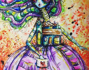 I AM Home original pen and ink drawing and Watercolor painting