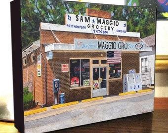 "Italian Grocery Store Art Bossier City, La. ""Sam Maggio Grocery"" 8x10x1.5"" and 11x14x1.5"" Gallery Wrap Canvas Print"