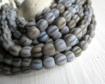 12 matte glass lavender grey purple round lampwork beads, melon wavy, rustic gritty aged look , indonesian  -  8 to 9mm  / 12 beads, 5A6