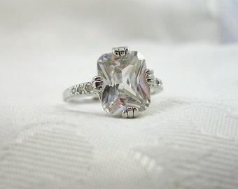 Vintage Crystal Stone Ring Thailand Silvertone Size 7