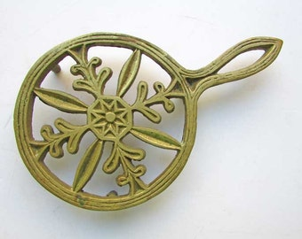 Vintage Decorative Brass Footed Trivet, Rack, Stand for Hot Foods, Table Top Display, 1970's Vintage Trivet, Snowflake and Star Design