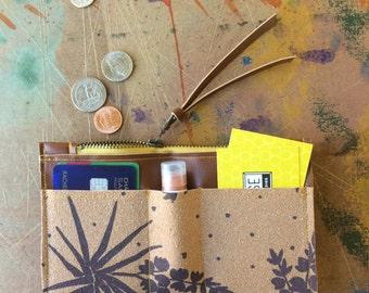 zip wallet • coin purse zipper wallet • hand screenprinted yucca print - zipper pouch - fall style - gifts under 30 • native