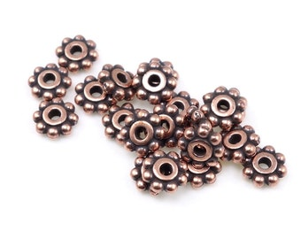 20 Antique Copper Beads 6mm Flat Daisy Spacer Beads Copper Bali Beads TierraCast 6mm Beaded Heishi Beads Tierra Cast Pewter Beads (PS102)