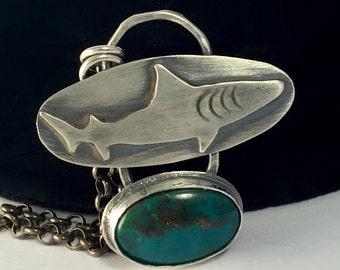 Sterling Silver Gem Silica Shark Pendant Necklace