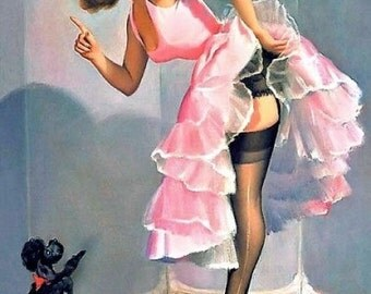 Pin Up Girl With Poodle Reproduction Fabric Quilt Block Free Shipping World Wide