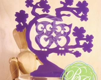 "Owl Cake Topper, PURPLE ""Owl Love You Forever"" Wedding  Keepsake Topper, Anniversary, Date Night Owl Couple, Owl Pair *Original Design*"