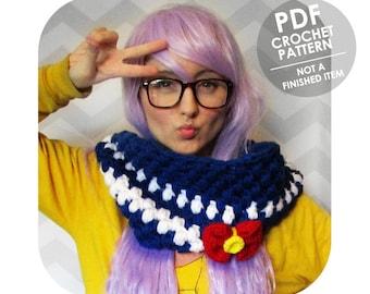 sailor moon inspired cowl crochet pattern - anime sailor moon - chunky crochet cowl - cowl crochet pattern - kawaii anime lovers - bow cowl