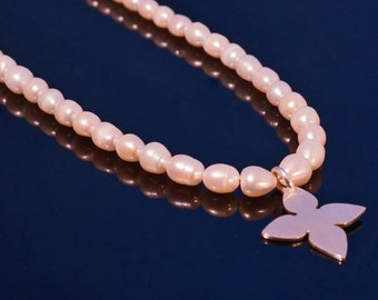 Sterling and Peach Pearl Silhouette Necklace