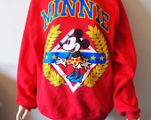 MINNIE MOUSE // Vintage 90s Crewneck Sweatshirt Unisex XL Gucci Style Disney Sweater 1990s Cute Pullover Disneyland Baggy Normcore Kawaii