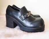 EMILY // Vintage 90s Black Platform Loafers Vegan Leather Womens 8.5 9 Chunky Shoes 1990s Lolita DDLG Clothing Kawaii Schoolgirl Platforms