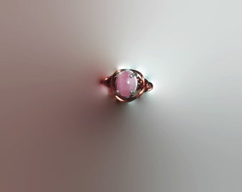 Genuine Pink Rhodochrosite Wire Wrapped Pinky Gemstone Ring Silver and Copper Size 3 Boho Chic Real Gemstone Upcylced Jewelry