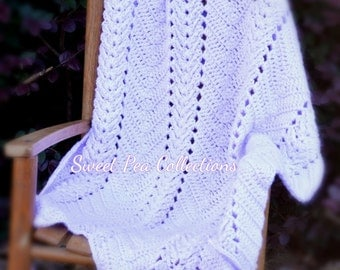 Lavender Crochet Baby Blanket Ripple Baby Afghan  Lilac Baby Shower Gift Baby Girl Travel Blanket Chevron Security Blanket READY TO SHIP