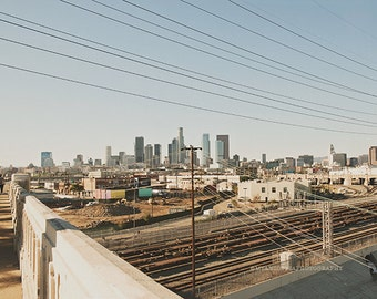Los Angeles skyline photograph, downtown LA, Los Angeles wall art, Industrial, loft decor, DTLA art print, California artwork, landscape