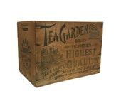 1930s Tea Garden Crate, Clinch & Co Grass Valley Mercantile Box, Wood Storage